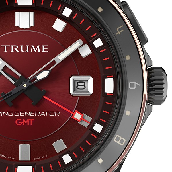 TRUME トゥルーム Lコレクション ブレークライン 販売店限定モデル TR-ME2006 メンズ 腕時計 自動巻発電 GMT セラミック レザー レッド theclockhouse-y 05