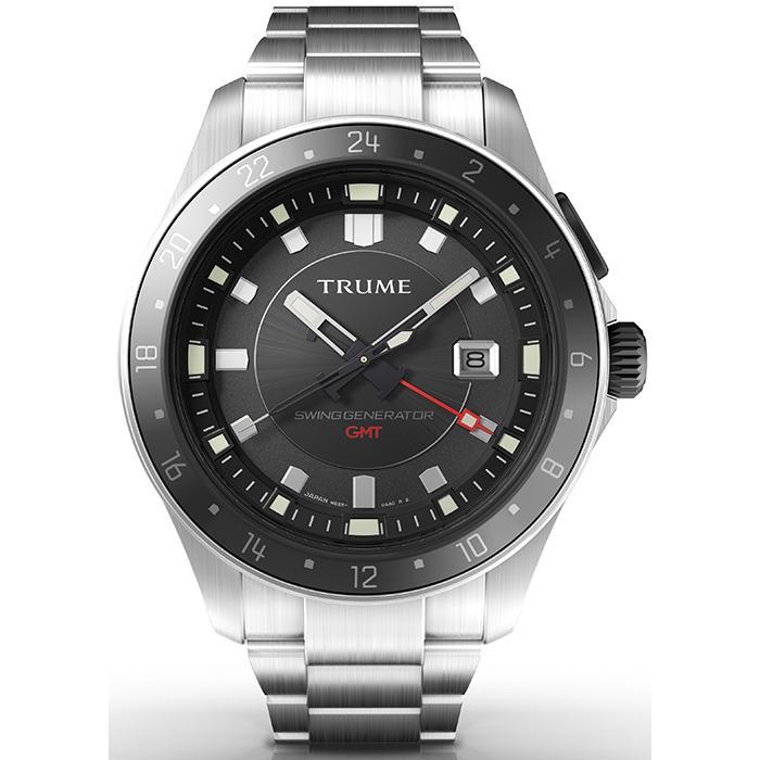 TRUME トゥルーム Lコレクション ブレークライン TR-ME2009 メンズ 腕時計 自動巻発電 GMT セラミックベゼル メタルバンド ブラック エプソン|theclockhouse-y|02