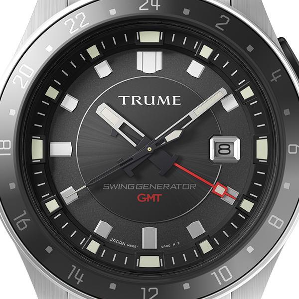 TRUME トゥルーム Lコレクション ブレークライン TR-ME2009 メンズ 腕時計 自動巻発電 GMT セラミックベゼル メタルバンド ブラック エプソン|theclockhouse-y|03
