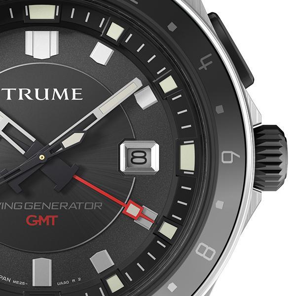 TRUME トゥルーム Lコレクション ブレークライン TR-ME2009 メンズ 腕時計 自動巻発電 GMT セラミックベゼル メタルバンド ブラック エプソン|theclockhouse-y|05