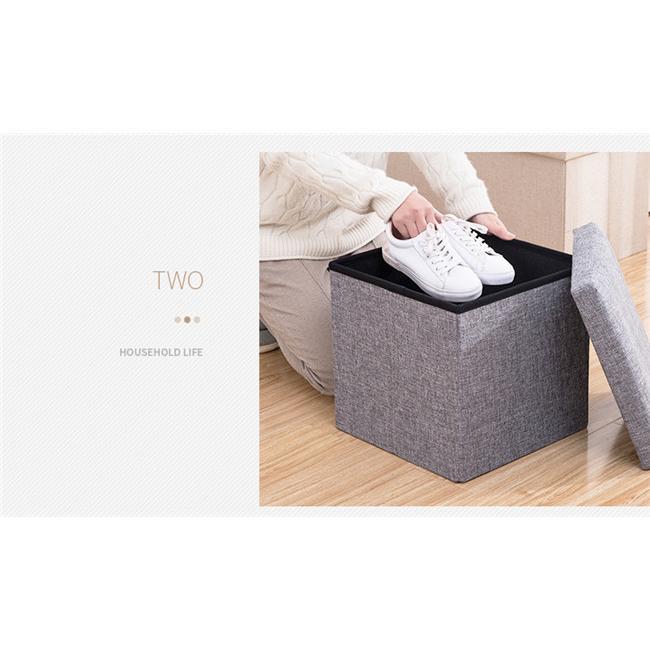 収納スツール 大容量 折りたたみ 座れる 収納ボックス 多機能 ペンチ オットマン 綿麻 布製 椅子 クッション フタ付き チェア ツールボックス thekim 11