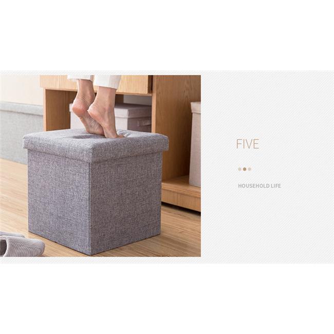 収納スツール 大容量 折りたたみ 座れる 収納ボックス 多機能 ペンチ オットマン 綿麻 布製 椅子 クッション フタ付き チェア ツールボックス thekim 14