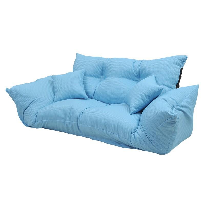 【ブルー】ジャンボカウチ 【ブルー】ジャンボカウチ 2人掛けソファ ロータイプソファ ソファーベッド リクライニングソファ クッション2個付 日本製