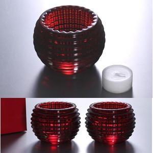 バカラ  Baccarat   アイ キャンドルホルダーレッド2個セット EYE  2-810-639  クリスタルガラス製  キャンドル付  バカラ赤箱入
