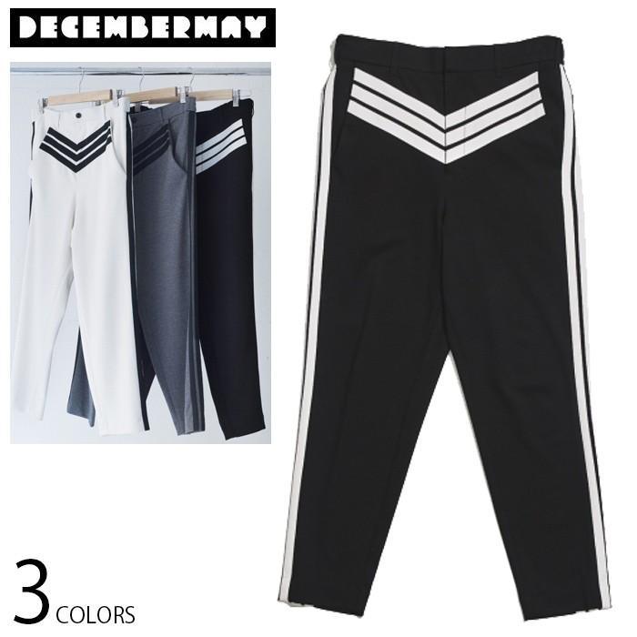 DECEMBERMAY ディセンバーメイ メンズ サイドライン ポンチ アンクル パンツ 4x3 ponti ankle pants ゴルフ ゴルフウエア 全2色 3サイズ展開 ラインパンツ