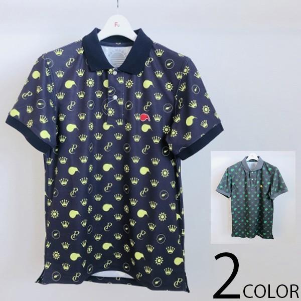 メンズ KIWI&CO PALMS&CO キウィモチーフ 小紋柄 ポロシャツ 半袖 ポロシャツ 総柄 全2色 5サイズ展開 ゴルフ ゴルフウエア