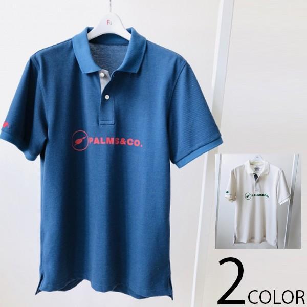 メンズ KIWI&CO PALMS&CO アメリカン デニム 調 鹿の子 ポロシャツ 半袖 ポロシャツ 総柄 全2色 5サイズ展開 ゴルフ ゴルフウエア