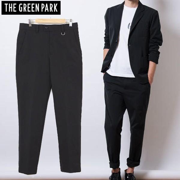 THE 緑 PARK メンズ テーパード アクティブ スラックス ツイル ストレッチ パンツ ブラック 2サイズ展開 ゴルフ ゴルフウエア