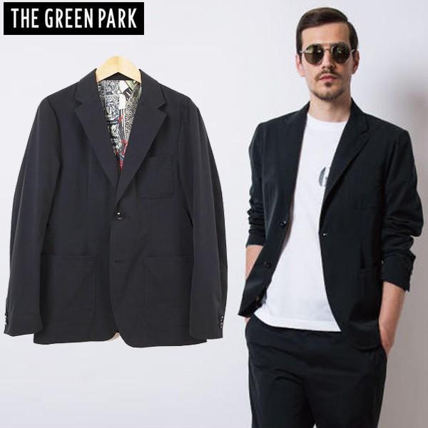 THE GREEN PARK メンズ アクティブ テーラードジャケット ツイルストレッチ TAILORED JACKT ブラック 3サイズ展開 ゴルフ ゴルフウエア