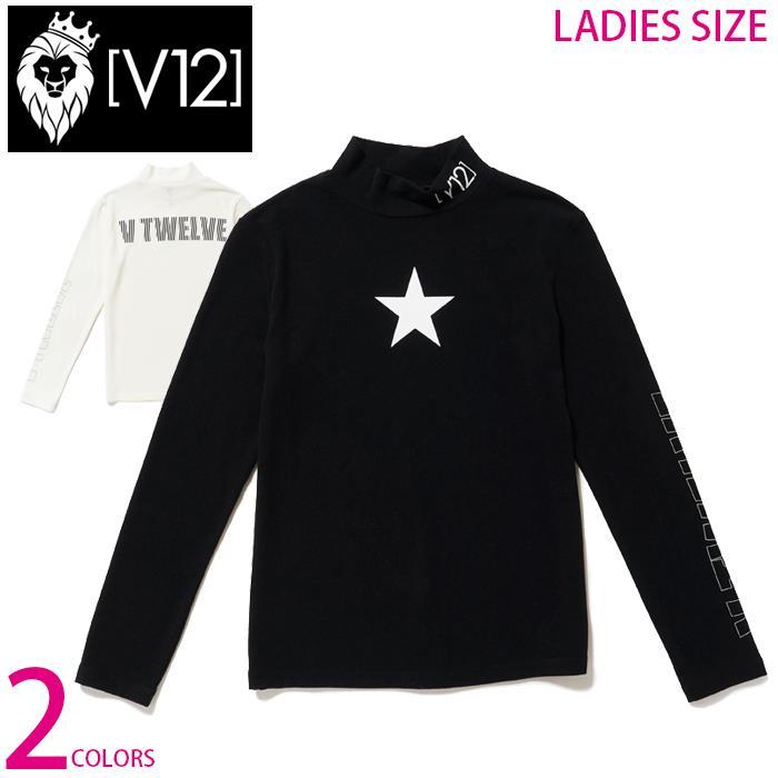 V12 レディース バックロゴ 星柄 スター モックネック ストレッチ カットソー ONE STAR MOCK WM ゴルフ ゴルフウエア 全2色 2サイズ展開 SG0920