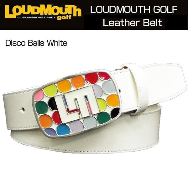 ラウドマウス Loudmouth ゴルフ メンズウエア レザーベルト (008)Disco Balls 白い ディスコボールズ ホワイト 767904 新品 17SS 日本規格
