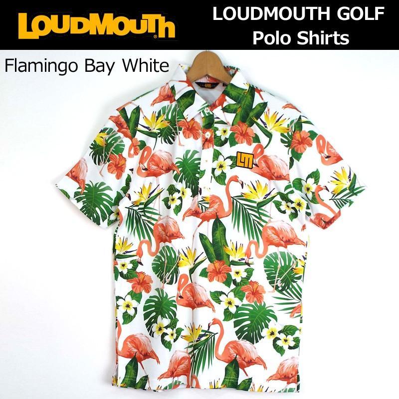 日本規格 ラウドマウス メンズ プレミアムカノコ 半袖 ポロシャツ (フラミンゴ ベイ ホワイト) 768606(120) 春夏 18SS ゴルフ Loudmouth JUN1 JUN2