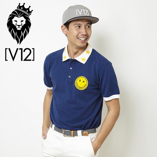 V12 ゴルフ ヴィ・トゥエルヴ メンズ スマイルワッペン 半袖 ポロシャツ V121810-CT02 75/ブルー 春夏 18SS ゴルフウェア