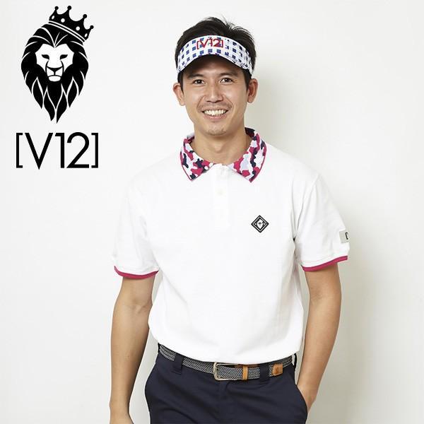 V12 ゴルフ ヴィ・トゥエルヴ メンズ カモカラー 半袖 ポロシャツ V121810-CT12 02/ホワイト 春夏 18SS ゴルフウェア