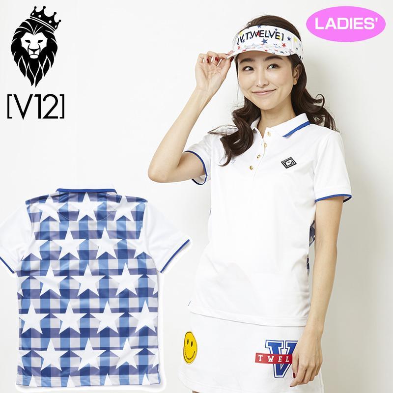 V12 ゴルフ ヴィ・トゥエルヴ レディース STAR CHECK 半袖 ポロシャツ V121810-CT13 01/ホワイト 春夏 18SS ゴルフ レディースウェア