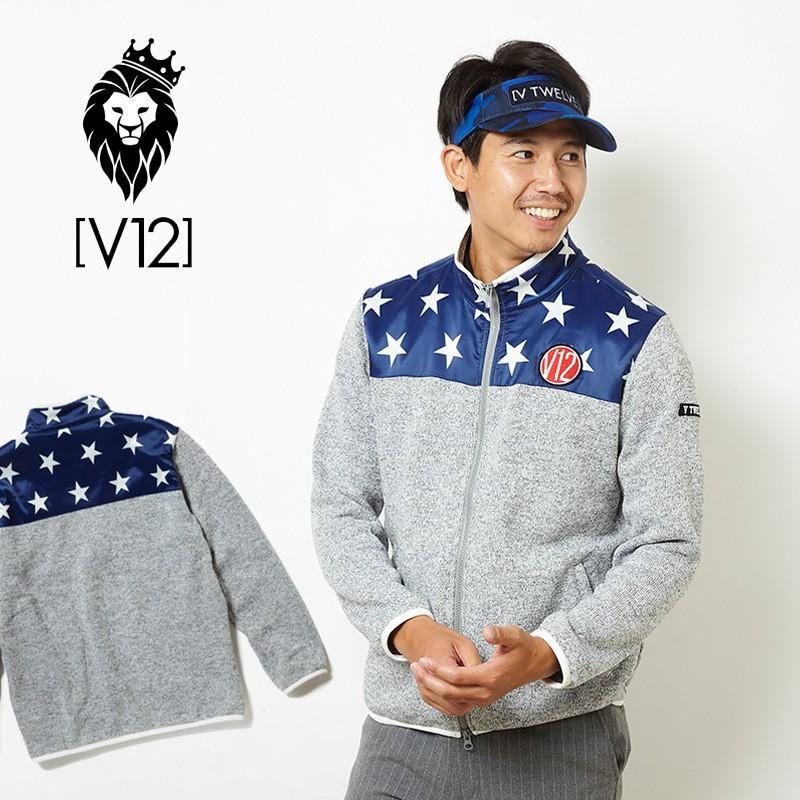 V12 ゴルフ ヴィ・トゥエルヴメンズ 長袖 ブルゾン HALF STAR ZIP KNIT V121820-JK03 15/グレー 18FW ゴルフ メンズウエア アウター
