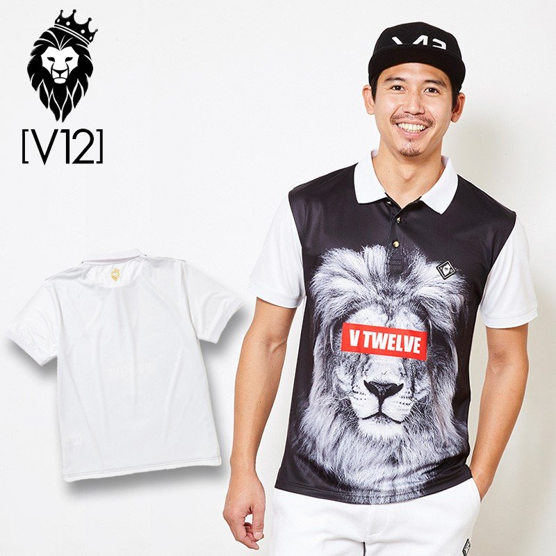 V12 ゴルフ ヴィ・トゥエルヴ 2019 メンズ LION POLO 半袖ポロシャツ V121910-CT18 02/白い 19SS ゴルフウェア 男性用 紳士用 半袖トップス