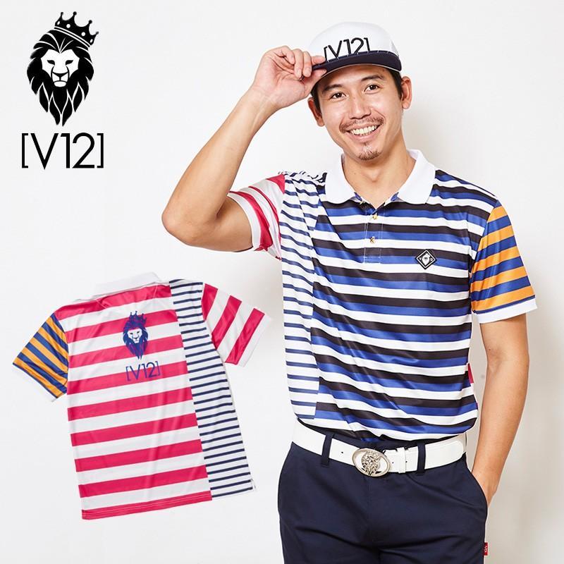 V12 ゴルフ ヴィ・トゥエルヴ 2019 メンズ CRAZY BORDER 半袖ポロシャツ V121910-CT20 32/ピンク 19SS ゴルフウェア 男性用 紳士用 半袖トップス
