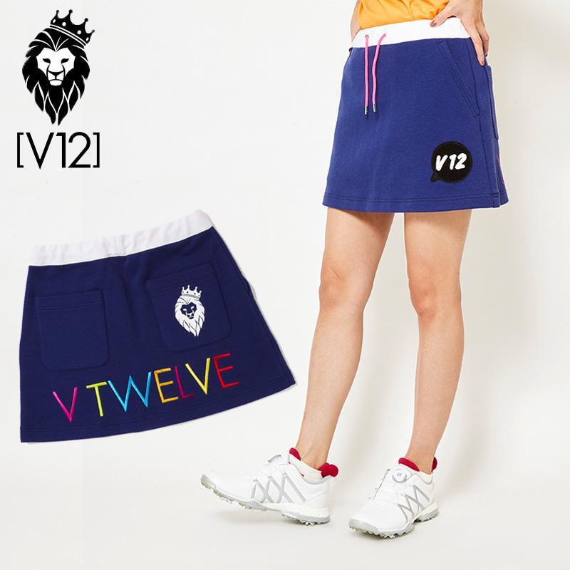 V12 ゴルフ ヴィ・トゥエルヴ 2019 レディース BL スウェット素材 スカート V121910-SK03 78/Navy 春夏 19SS ゴルフウェア ボトムス スコート