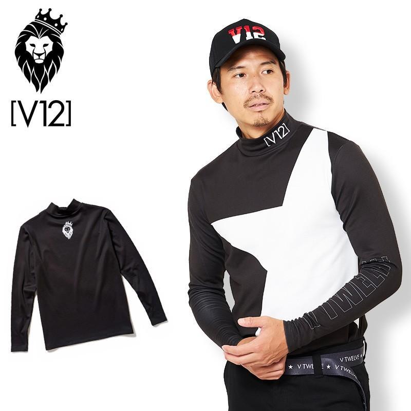 V12 ゴルフ ヴィ・トゥエルヴ 2019 メンズ BIG STAR MOCK 長袖 モックネック シャツ V121920-CT04 19/黒 19FW トップス SEP2 SEP3
