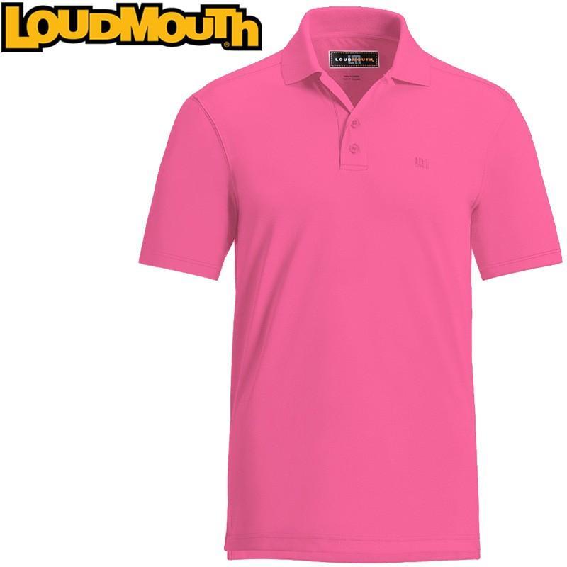 メール便送料無料 ラウドマウス ゴルフ メンズウエア 半袖 ポロシャツ エッセンシャルシャツ カーマインローズ Carmine Rose Loudmouth