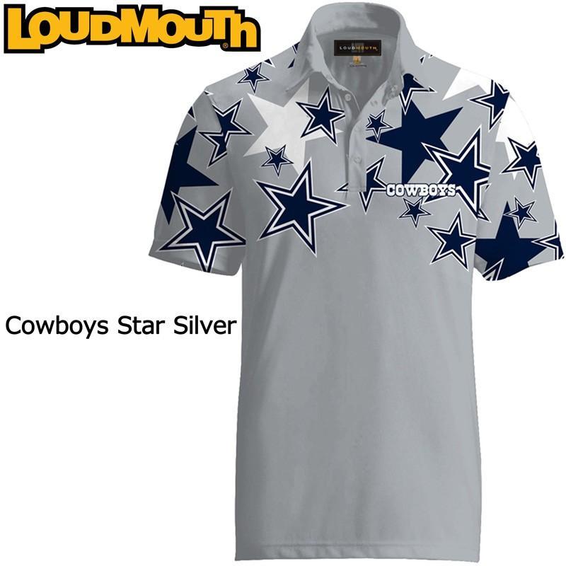 メール便可250円 ラウドマウス 半袖 ファンシーシャツ カウボーイズ スター シルバー Loudmouth Cowboys Star 銀 メンズ ポロシャツ ゴルフウェア トップス