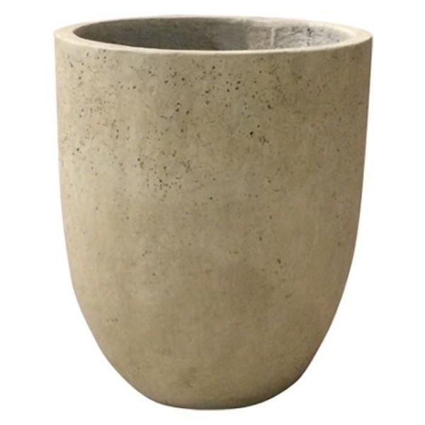 代引不可/軽量コンクリート製 植木鉢/プランター 〔クリーム 直径43cm〕 底穴あり 『フォリオ アルトエッグ』/代引不可