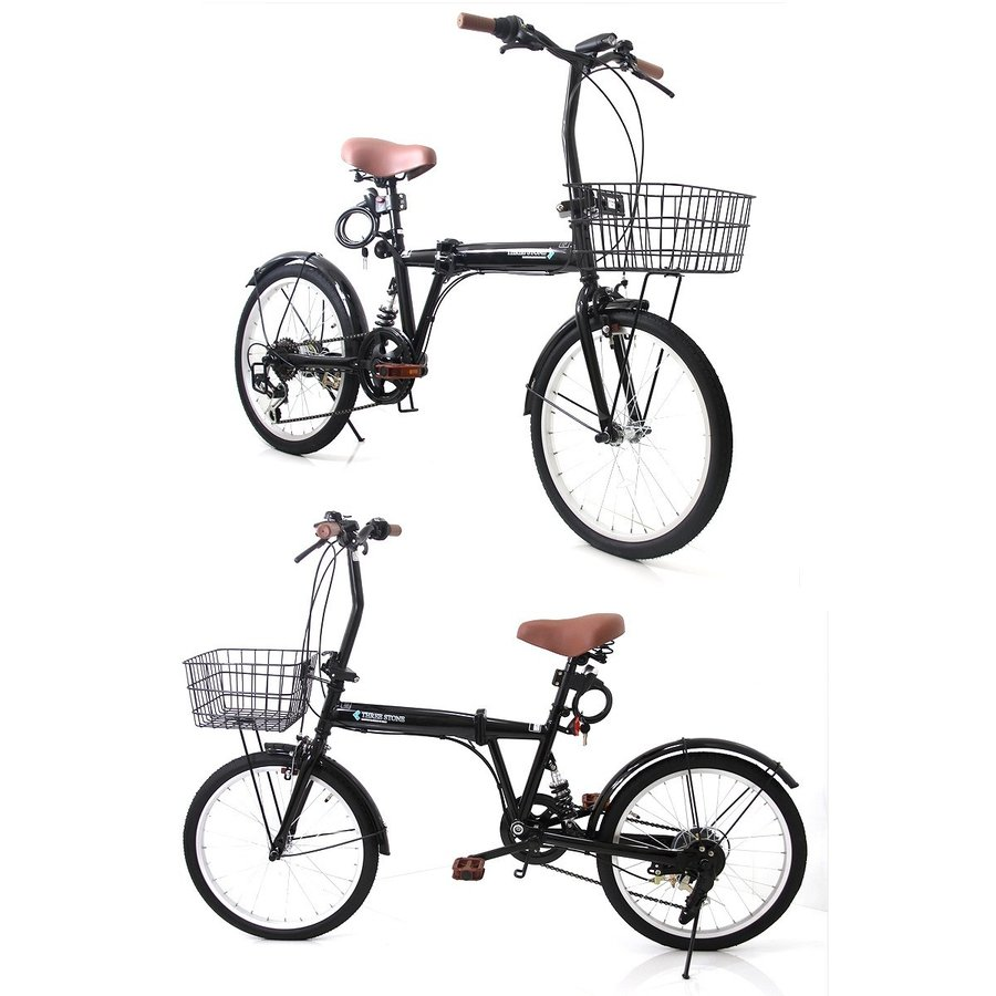 折りたたみ自転車 カゴ&リアサスペンション 20インチ ライト・カギ付き シマノ製6段ギア 折り畳み自転車 EB-020|three-stone-ys|02
