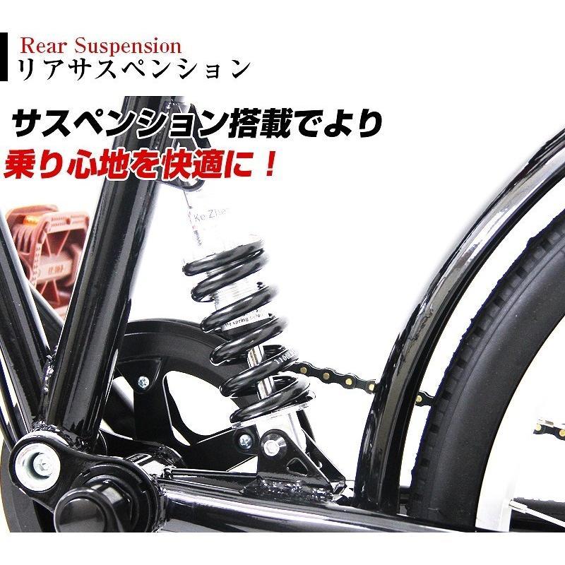 折りたたみ自転車 カゴ&リアサスペンション 20インチ ライト・カギ付き シマノ製6段ギア 折り畳み自転車 EB-020|three-stone-ys|11