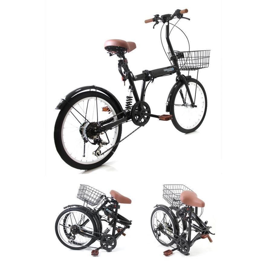 折りたたみ自転車 カゴ&リアサスペンション 20インチ ライト・カギ付き シマノ製6段ギア 折り畳み自転車 EB-020|three-stone-ys|03