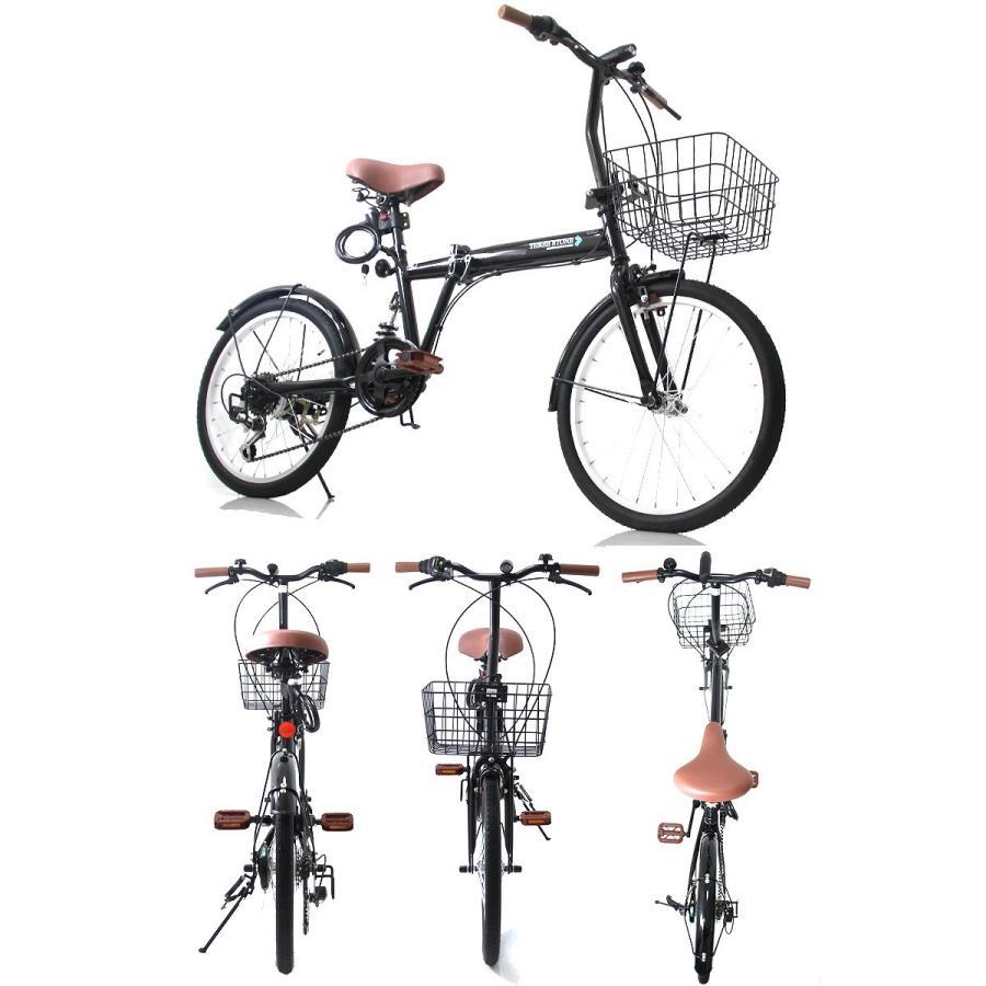 折りたたみ自転車 カゴ&リアサスペンション 20インチ ライト・カギ付き シマノ製6段ギア 折り畳み自転車 EB-020|three-stone-ys|04