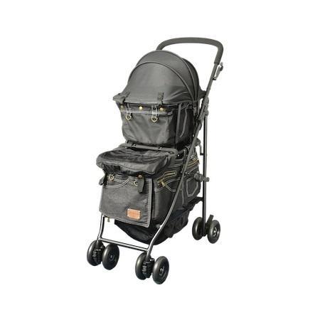 マザーカート Mother Cart アジリティー ブラックデニム ゴールドステッチ 上下段セット 犬用 ペットカート ペットバギー