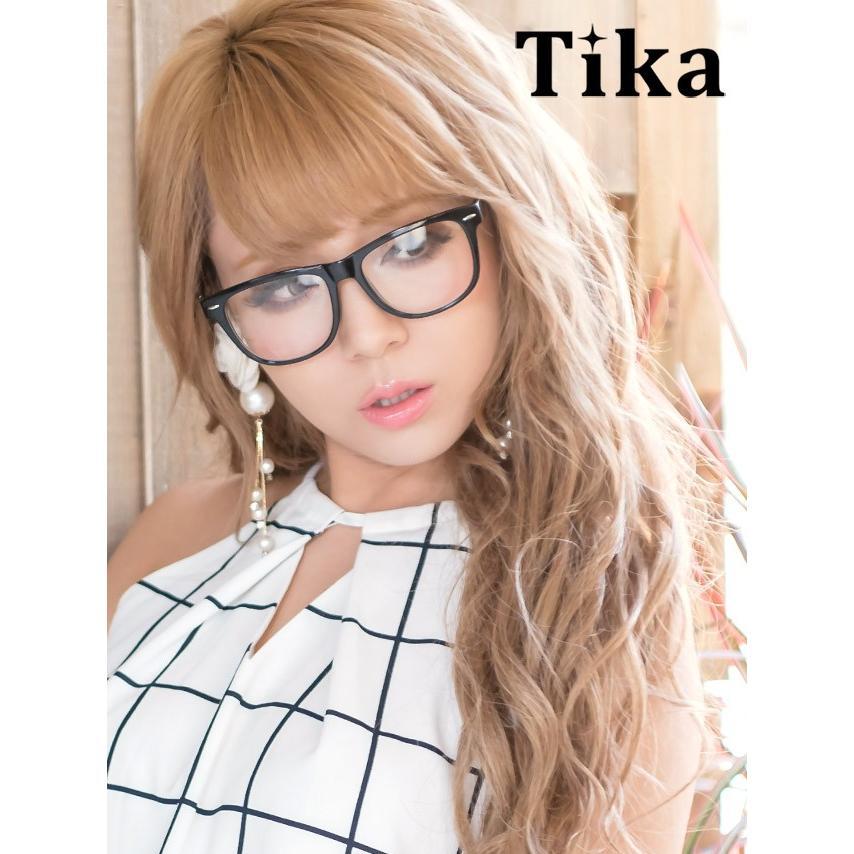 メガネ Tika ティカ ブラックフレーム 伊達メガネ ファッションメガネ ...