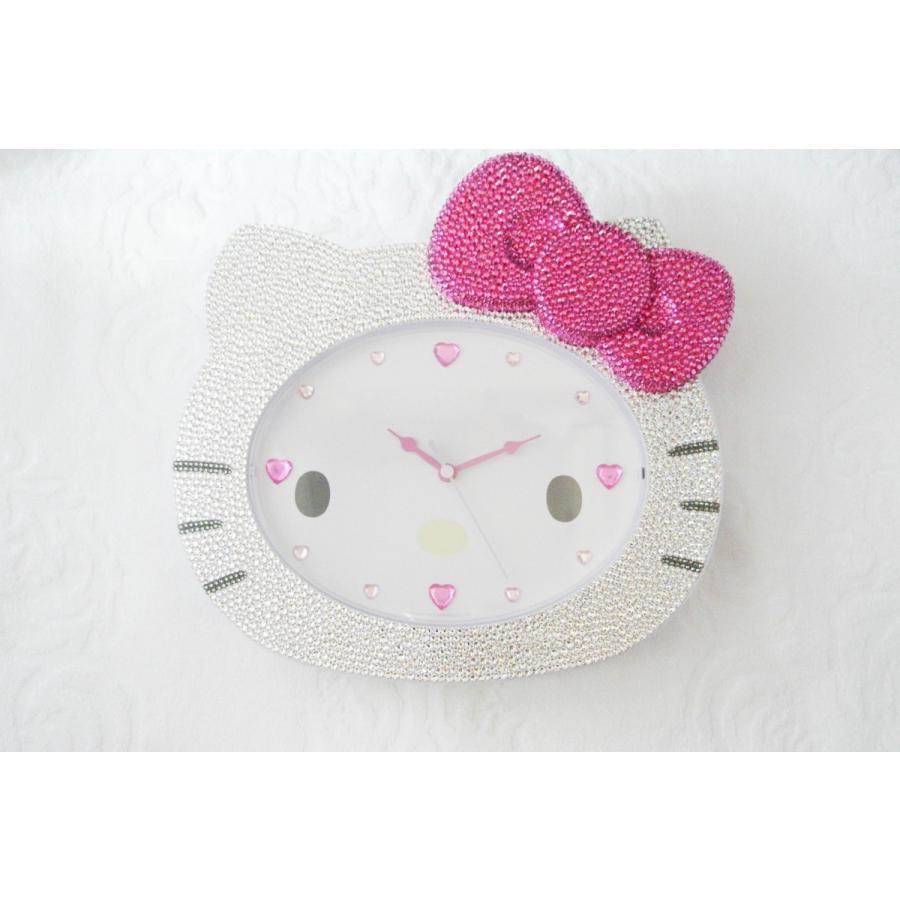 ハローキティ フェイス形 スワロフスキー デコレーション SWAROVSKI キラキラ 時計 掛け時計 プレゼント