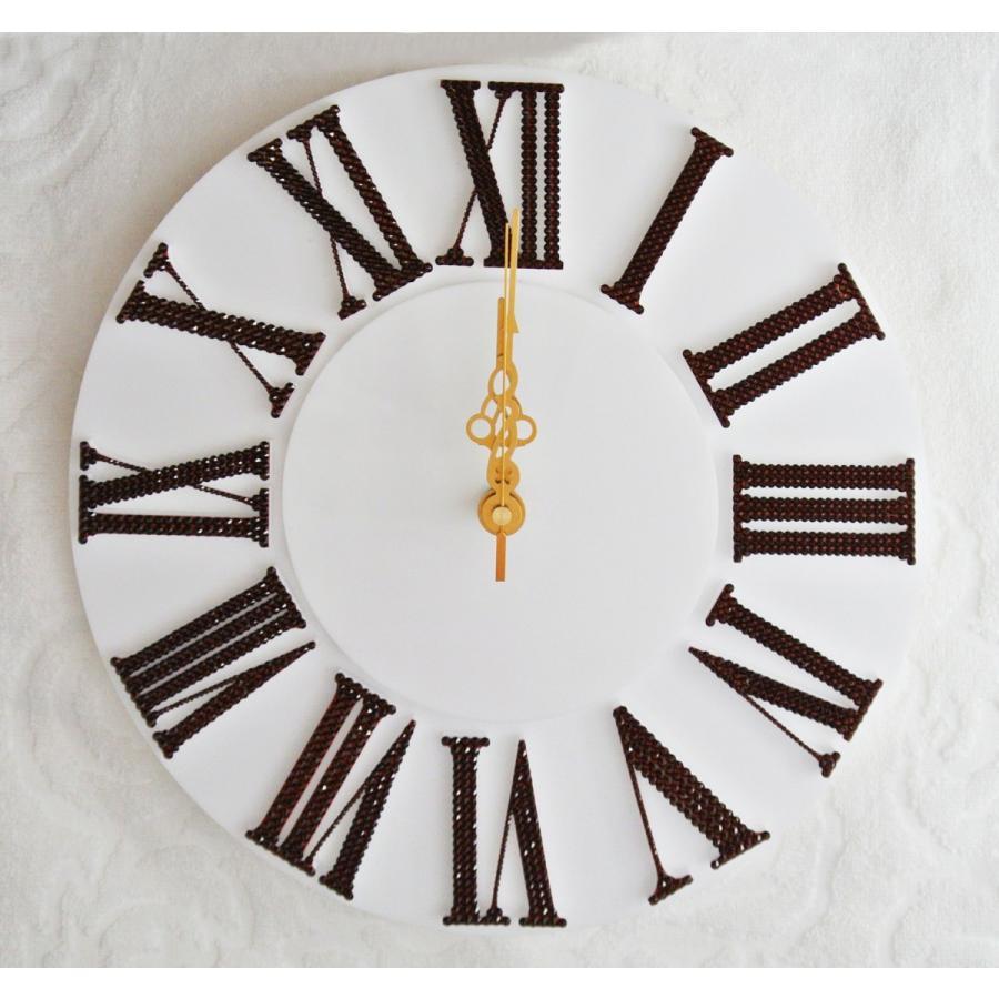 オリジナルクロック ブラウン デコレーション スワロフスキー キラキラ 時計 掛け時計 プレゼント