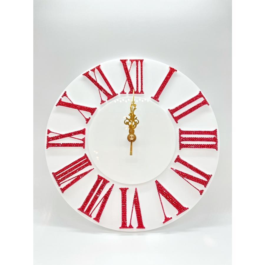 オリジナルクロック レッド デコレーション スワロフスキー キラキラ  SWAROVSKI RHINE STONE 時計 掛け時計 プレゼント