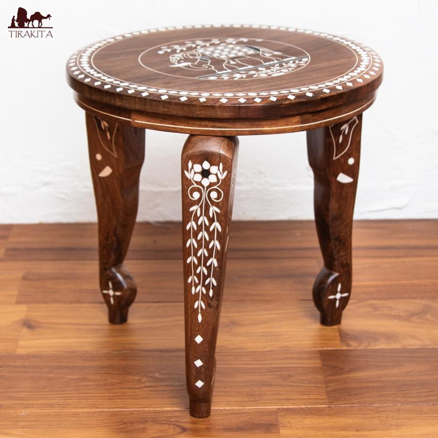 テーブル インテリア インド アジアン 象モチーフのアジアンサイドテーブル (直径:約30cm) 家具 エスニック 雑貨