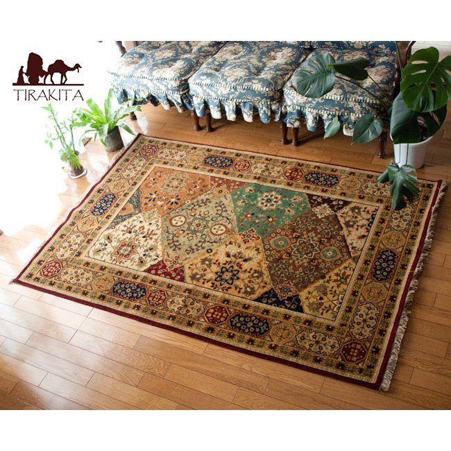 送料無料 ラグ マット 絨毯 手織り絨毯 インド 玄関マット 手織りのインド絨毯(約180cm x 約122cm) 手編み絨毯 じゅうたん 手作り アジアン インテリア