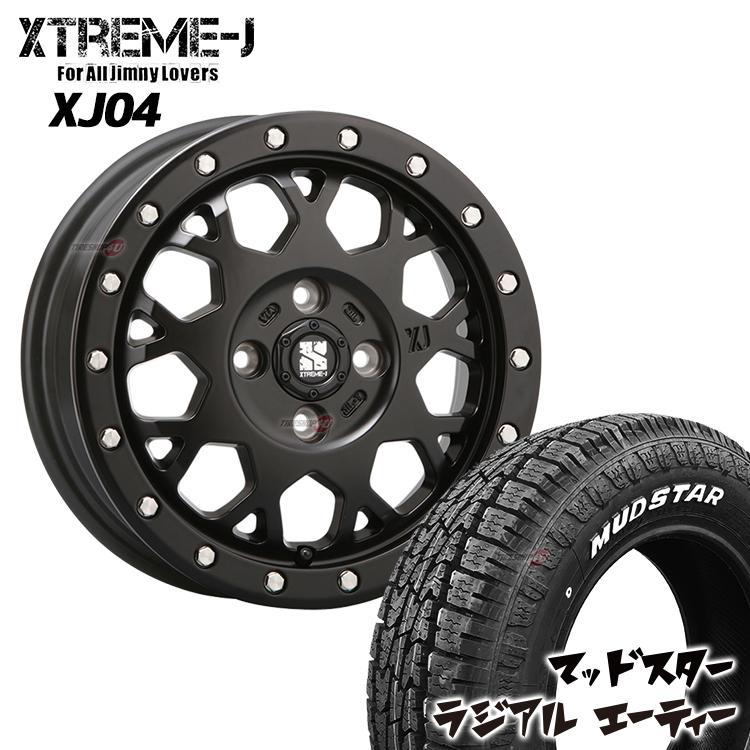 タイヤホイール4本セット XTREME-J XJ04 14x4.5 4/100 +43 サテンブラック MUDSTAR RADIAL A/T 165/65R14 軽カー