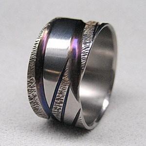 激安/新作 純チタンの指輪 18.5号10mm幅広 ハンドメイド鍛造一点もの 金属アレルギーフリー, e-ショップオークワ 364251a3