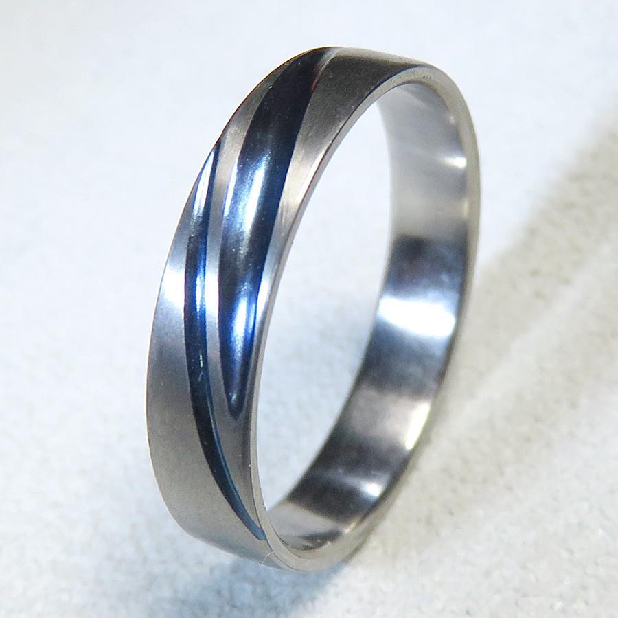 当店在庫してます! 純チタン結婚指輪:艶消 2Line Blue:1本単品:金属アレルギー対応 ストレスフリー ハンドメイド鍛造, アグリランド fb9b62de