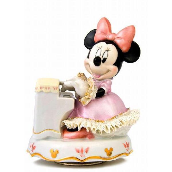 ミニー ピアノ弾き オルゴール カラー DY-2363C/テーケー名古屋人形製陶株式会社|tklace
