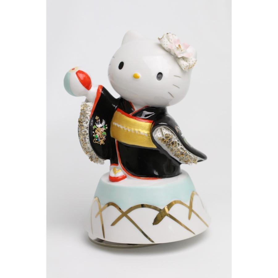 和装 ハローキティ  レースドール オルゴール SR-2403B(黒)  【 陶器 人形 置物】 /テーケー名古屋人形製陶株式会社|tklace
