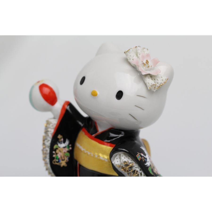 和装 ハローキティ  レースドール オルゴール SR-2403B(黒)  【 陶器 人形 置物】 /テーケー名古屋人形製陶株式会社|tklace|02