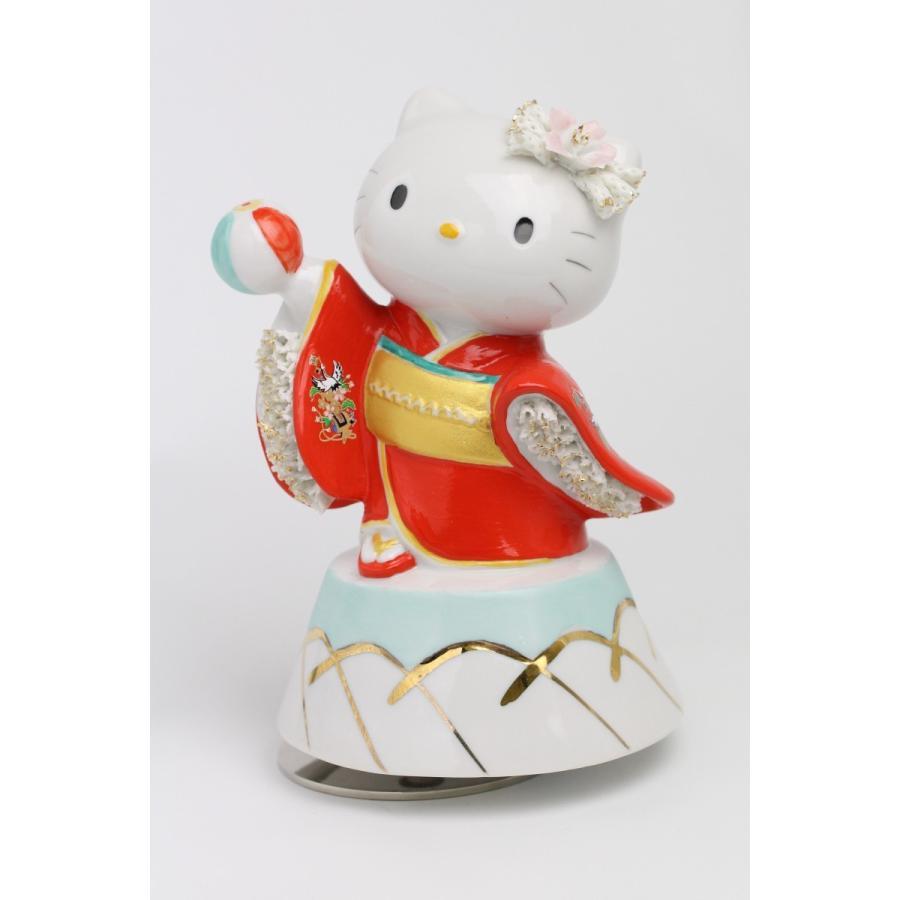 和装 ハローキティ  レースドール オルゴール SR-2403R(赤)  【 陶器 人形 置物】 /テーケー名古屋人形製陶株式会社|tklace