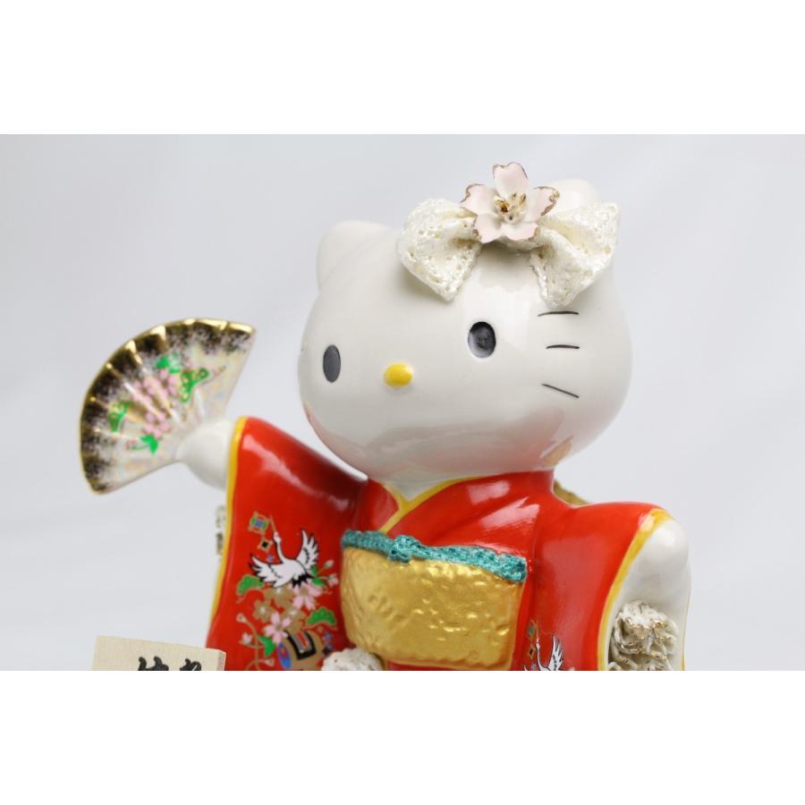 和装 ハローキティ 陶製 レースドール デラックス  SR-2404R  【 陶器 人形 置物】 /テーケー名古屋人形製陶株式会社|tklace|02
