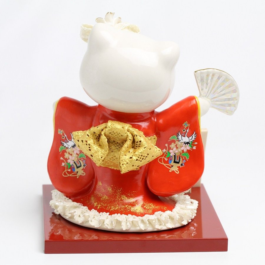 和装 ハローキティ 陶製 レースドール デラックス  SR-2404R  【 陶器 人形 置物】 /テーケー名古屋人形製陶株式会社|tklace|05