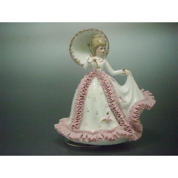 オルゴール 傘持ち少女 TKN-2053CP  【 陶器 人形 置物】|tklace