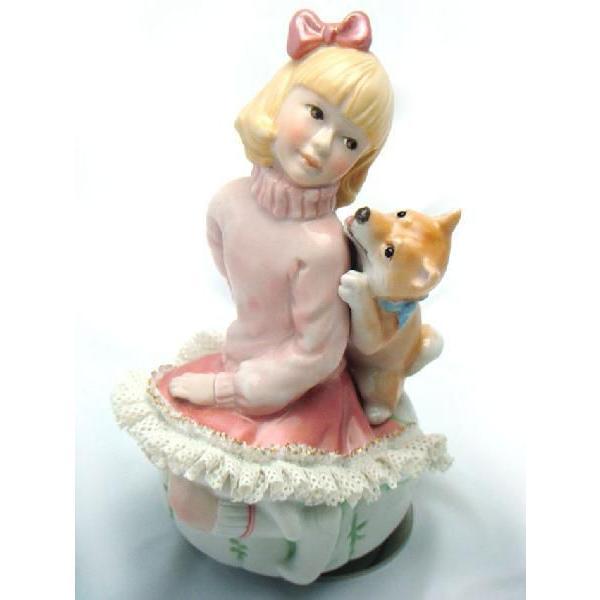 レースドール オルゴール マイ・ファミリー 柴犬 TKN-2370A 【 陶器 人形 置物】 /テーケー名古屋人形製陶株式会社|tklace