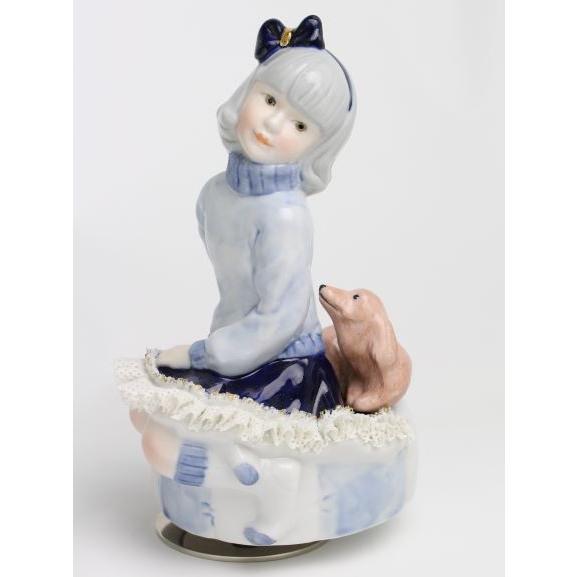 レースドール オルゴール マイ・ファミリー ダックスフンド TKN-2370H  【 陶器 人形 置物】 /テーケー名古屋人形製陶株式会社|tklace